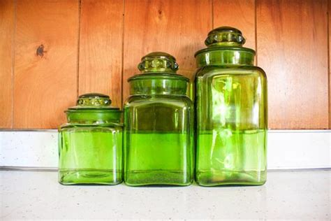 green canister sets kitchen green glass kitchen canister set vintage by usedandabused