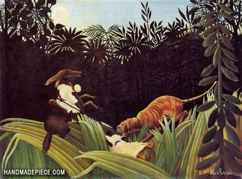 canvas floater frames wholesale henri rousseau scout attacked by a tiger reproduction