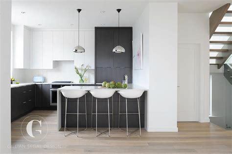 modern kitchen  black  white tuxedo cabinets