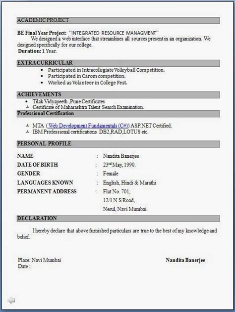 top  resume formats  freshers resume format