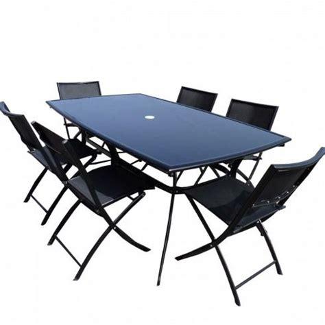 chaises de salon de jardin salon de jardin table aluminium 6 chaises noir achat