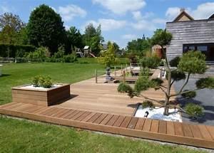 amenagement jardin terrasse en bois amenager son exterieur With amenagement exterieur maison moderne 11 plantes et amenagement jardin mediterraneen 79 idees