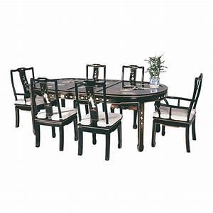 Table chinoise de salle a manger avec 6 chaises et 2 for Meuble salle À manger avec fauteuil de table a manger