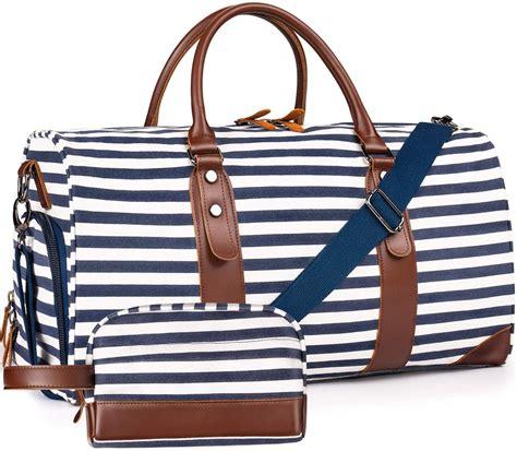 Oflamn 21″ Weekender Bags Canvas Leather Duffle Bag ...
