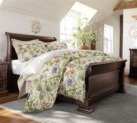 pottery barn coffee thistle floral print organic duvet cover sham pottery barn