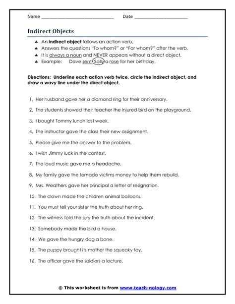 direct and indirect objects worksheets free worksheets