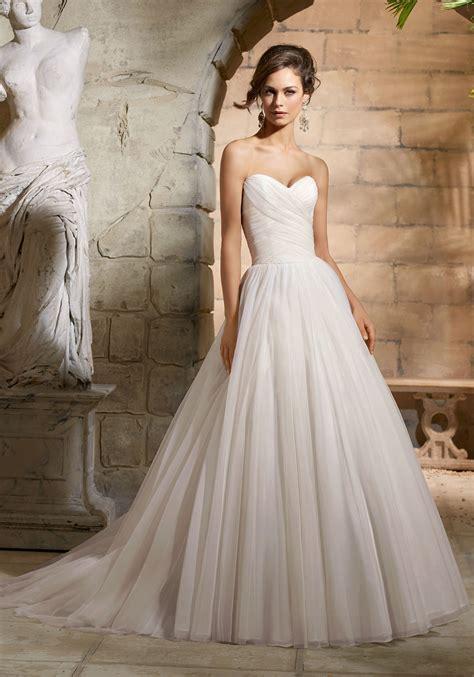 Asymmetrically Draped Bodice On Net Wedding Dress Style