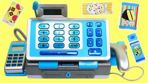 home toy cash register  real scanner