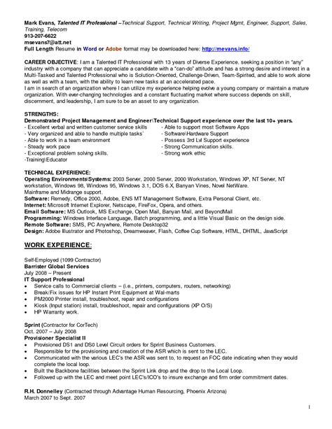 Technical Help Desk Analyst Resume by Cover Letter It Help Desk Resume Sles Free Resume Objective For Help Desk Technician Help