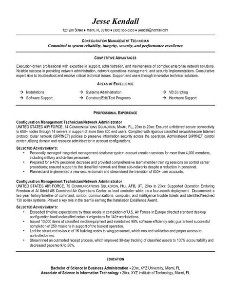 exle configuration management technician resume sle