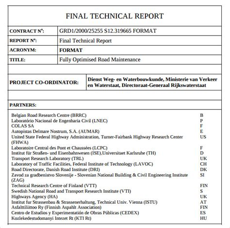 technical report template 8 technical report sles exles templates sle templates