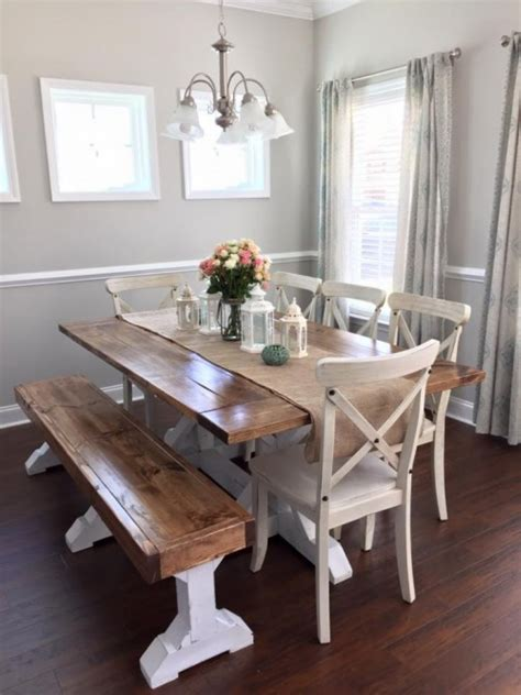 dining room table with bench ingenious farmhouse table dining room 10 homedecort