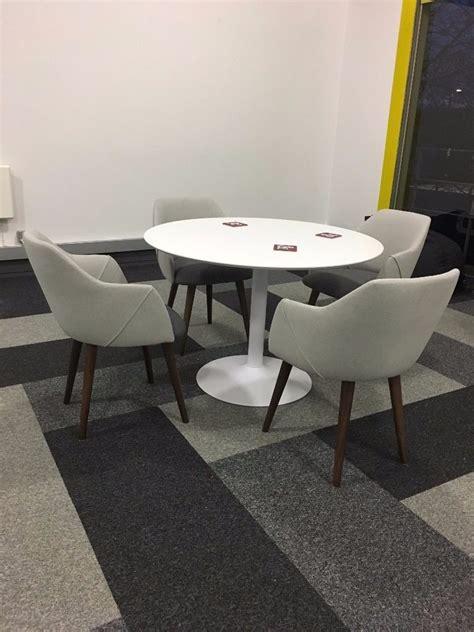 HABITAT 'LANCE' white round dining table, hardly used in