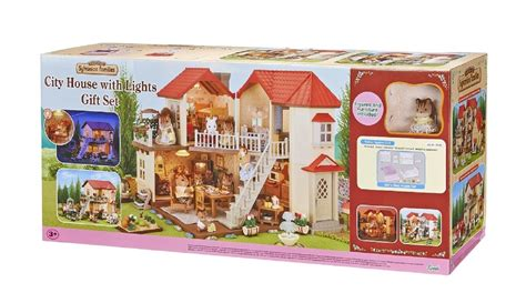 sylvanian families city house with lights gift set store