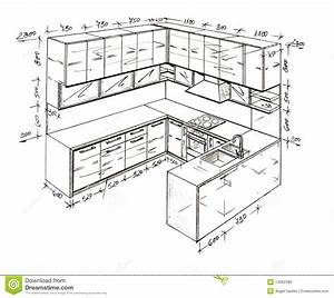 Modern Interior Design Freehand Drawing. Stock ...