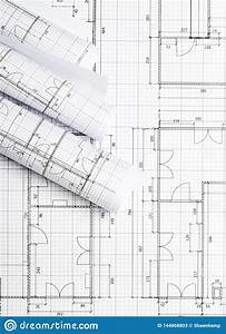 Rolls, Of, Architectural, Blueprint, House, Building, Plans, On, Blueprint, Background, Flat, Lay, Stock