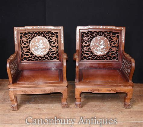 chaise chinoise pair antique hardwood arm chairs of pearl