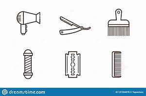 Vector Set Of Barbershop Objects  Hair Dryer  Blade  Comb