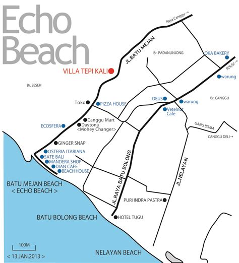 echo beach map villa tepi