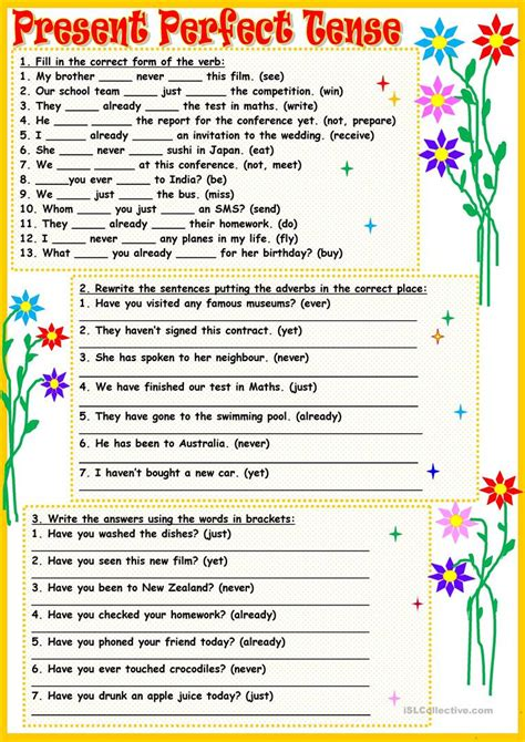 present perfect tense worksheet  answers db excelcom
