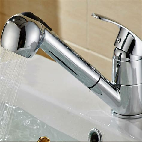 kitchen sink water faucet pull single handle pull out sprayer shower kitchen