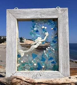 Beach, Glass, Wave, In, Blue, And, Teal, With, A, Reaching, Mermaid