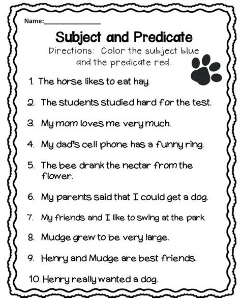 subject and predicate worksheet free lessons subject