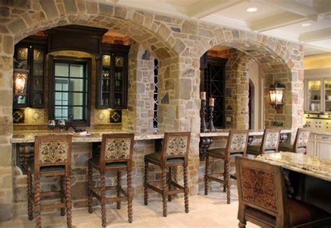 stone bar  arched facade mediterranean kitchen