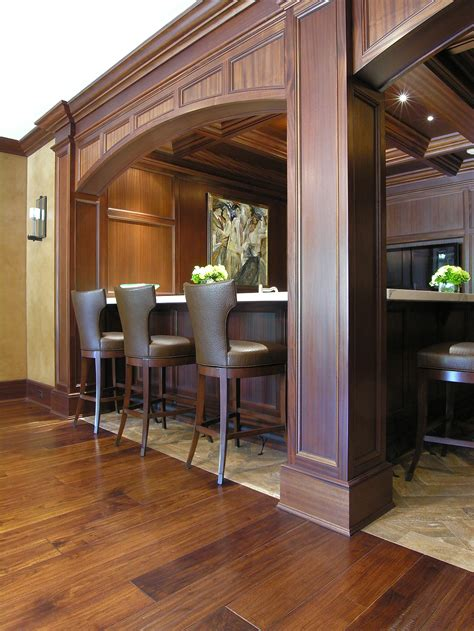 Home Kitchen Ideas - mahogany coffered ceiling and paneled residential bar cullen grace