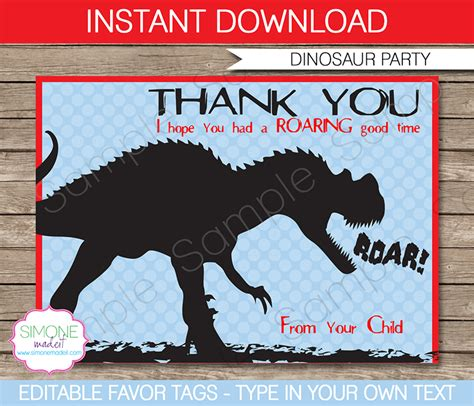 water bottle pack dinosaur favor tags thank you tags birthday