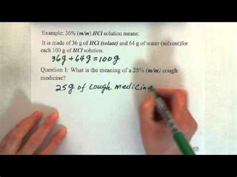 concentration  solution mass percent mm