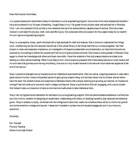 personal letter  recommendations  sample