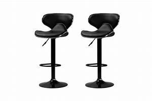 Tabouret De Bar Noir : lot de 2 tabourets de bar new cab noir design sur sofactory ~ Melissatoandfro.com Idées de Décoration