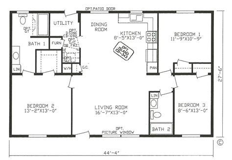 2 Bedroom Open Floor Plans by 4 Corner Rectangle House Plan 3 Bedrooms House Plans In