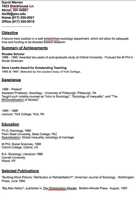 academic assistant professor resume sle http