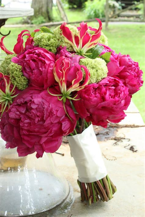 Beauties Magenta And Green Wedding Flowers Wedding