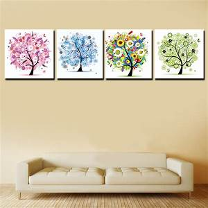 2016 4 pcs pachira poster hd framed wall art painting home for Framed wall art for living room