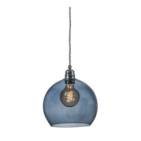 decorative mouthblown glass globe pendant in transparent blue