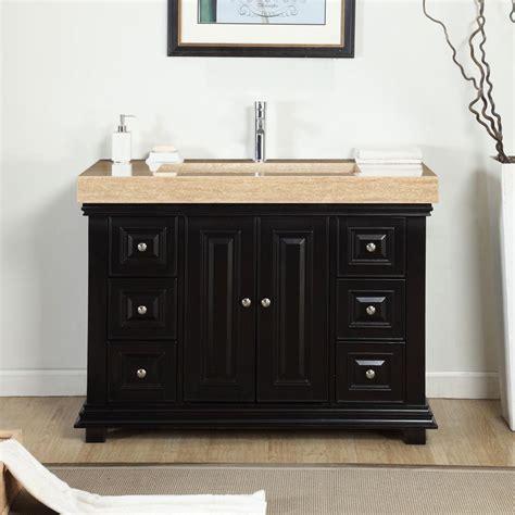 "Silkroad Exclusive 48"" Single Sink Cabinet   Travertine"