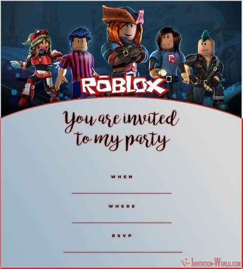 Roblox Birthday Party Invitations Invitation World