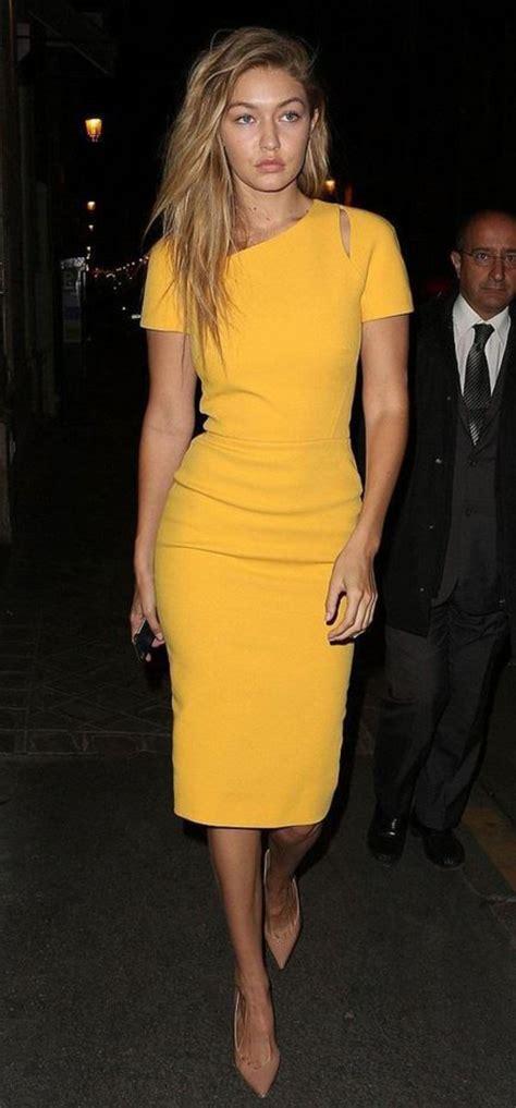 dress, bodycon dress, yellow dress, fashion week, gigi