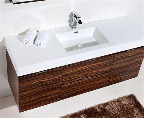 bliss  walnut wall mount single sink vanity