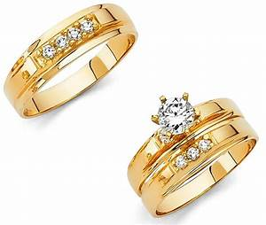 14k solid yellow italian gold wedding band bridal With yellow gold wedding ring set