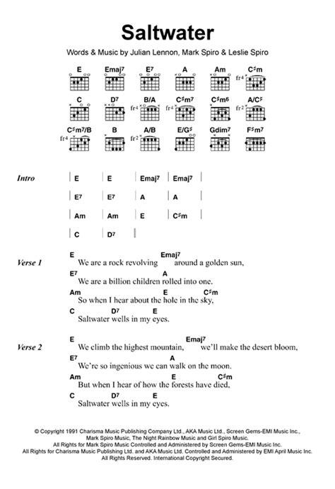 25818 lyrics de julian lennon saltwater sheet by julian lennon lyrics chords 118009