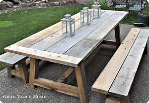 Reclaimed Wood Outdoor Dining Table and Benches