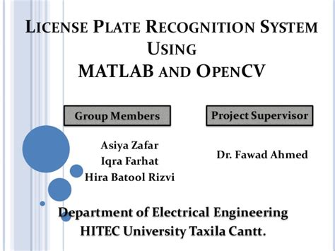 Automatic License Plate Recognition System