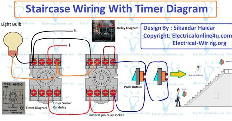 staircase timer wiring diagram using on delay timer and relay electrical 4u