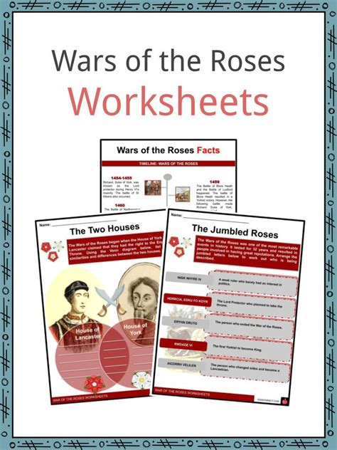 wars   roses facts worksheets origin  wars  kids