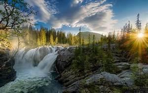 Wallpaper, Sunlight, Landscape, Forest, Waterfall, Sunset