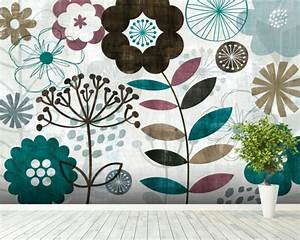 Floral Pop Turquoise Wall Mural & Floral Pop Turquoise ...